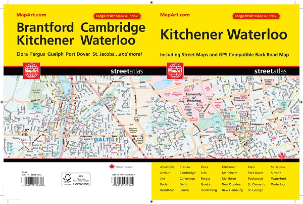 Kitchener Waterloo Guelph Ontario MapArt Large Print Street Atlas