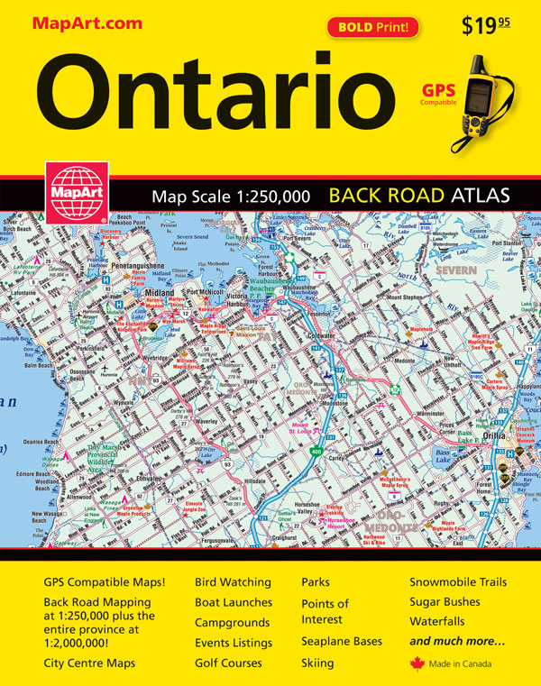 Map Art Ontario Back Road Atlas - Camping, Parks and more!