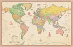 World Antique Laminated Wall Map - 20075