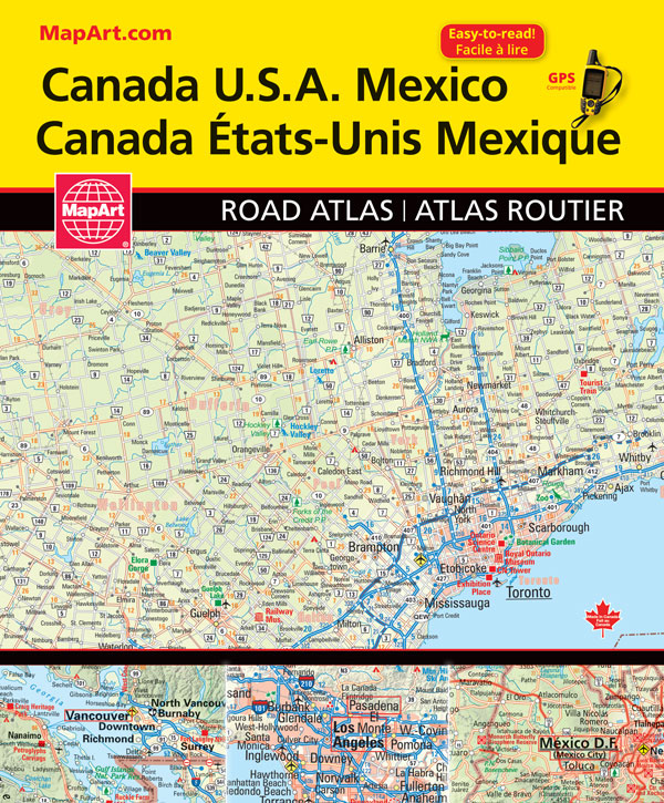 Canada USA Mexico North American Road Atlas 2018