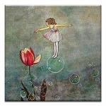 GREETING CARD - FAIRY ON A BUBBLE THUMBTACK     - 38938