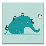 GREETING CARD - ELEPHANT AND FRIENDS THUMBTACK  - 39157