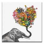 GREETING CARD - LOVE ELEPHANT THUMBTACK  - 31711