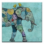 GREETING CARD - ELEPHANT AND YELLOW BIRDS THUMBTACK  - 31723