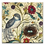 GREETING CARD - HALCYON BIRD AND NEST THUMBTACK  -  38945