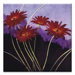 GREETING CARD - DAISIES ON LAVENDER THUMBTACK    - 39175