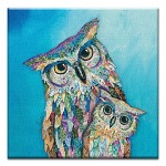 GREETING CARD - COLORFUL OWLS THUMBTACK  -  39164